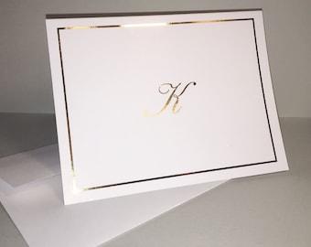 Gold Foil Stationery, Foil Note Cards, Gold Foil Stationary Set, Gold Foil Personalized Stationery, Gold Foil Personalized Note Cards