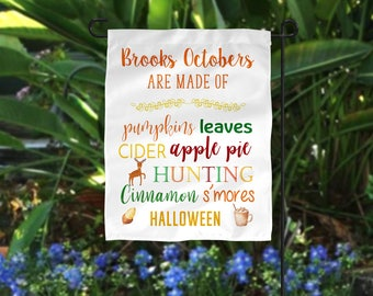 Garden Flag, Personalized Garden Flag, Fall Garden Flag, Hunting Garden Flag, Pumpkin Garden Flag, Halloween Flag, Happy Fall Flag