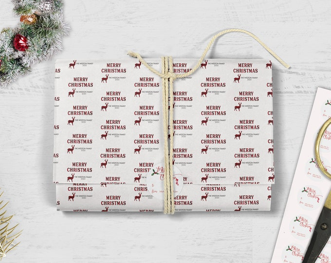 Featured listing image: Christmas Tissue Paper, Personalized Tissue Paper, Buffalo Plaid Tissue Paper, Custom Tissue Paper, Personalized Christmas Stickers