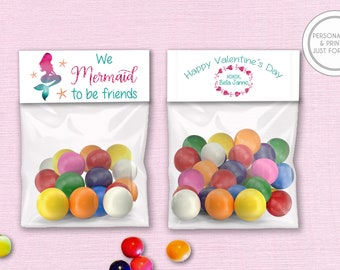 Valentines Day Bag Toppers, Personalized Valentines Day Cards, Printed Kids Valentines, Kids Valentines Bag Toppers, Mermaid Valentines
