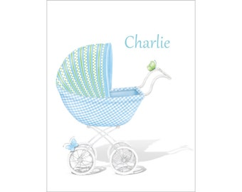Personalized Baby Boy Note Cards, Baby Blue Stroller Stationery, Birth Thank You Cards, Baby Shower Gift, New Baby, Notecards, Stationary