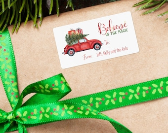 Personalized Christmas Tags, Personalized Gift Labels, Christmas Stickers, Holiday Label, Custom Stickers, Vintage Car, Believe in the Magic