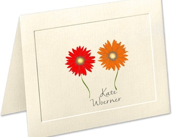 Gerber Daisy Personalized Note Cards, Embossed Panel Linen Finish Stationery, Red Flowers, Personalized Stationery Set, Thank You Cards