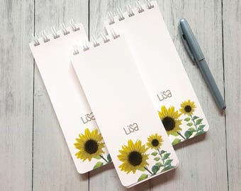 Sunflower Notepad, Spiral Bound, Set of 3 Personalized Note Pads, To-Do Lists, Grocery List, Co-Worker Gift, Stocking Stuffer, Office Gift