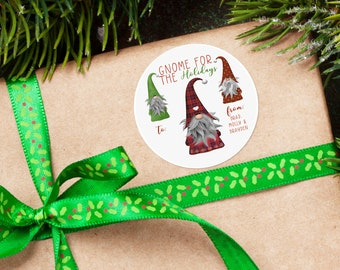 Personalized Christmas Tags, Personalized Gift Labels, Christmas Stickers, Custom Holiday Stickers, Christmas Labels, Gnome For The Holidays