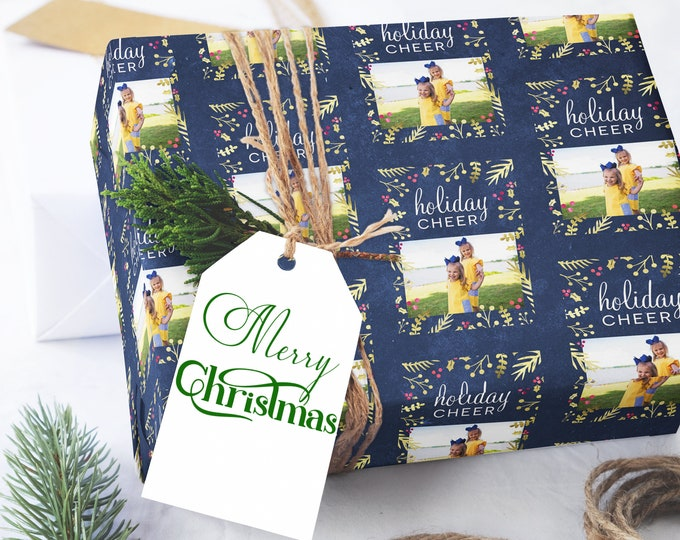 Featured listing image: Custom Wrapping Paper, Photo Christmas Wrapping Paper, Photo Wrapping Paper,  Blue Wrapping Paper, Photo Holiday Gift Wrap, Personalized