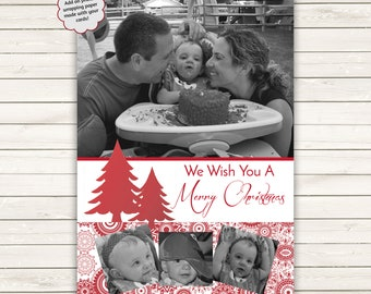 Printed Photo Christmas Cards, Custom Christmas Cards, Black and White Christmas, Photo Wrapping Paper, Print Ready Photo Christmas Cards