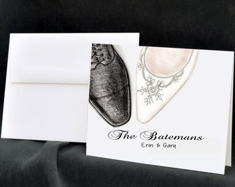 Wedding Notecards, Personalized Wedding Stationery, Thank You Cards, Bride Notecards, Wedding Shoes, Bridal Shoe, Wedding Stationary