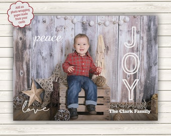 Photo Christmas Cards, Peace Love Joy Christmas Cards, Photo Wrapping Paper, Printed Photo Christmas Cards, Holiday Photo Cards