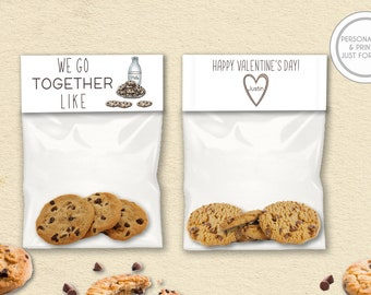 Kids Valentines Day Bag Toppers, Personalized Valentines Day Cards, Printed Kids Valentines, Milk and Cookies Valentines Day Cards