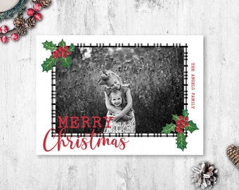 Holly Photo Christmas Cards, Photo Holiday Cards, Photo Christmas Cards, Printed Photo Christmas Cards, Black and White Christmas Cards