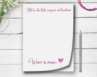 Red Wine Note Pads, Wine Lover Gift, Wine Notepads, To-Do Lists, Grocey Store Lists, Red Wine Gift, Glass of Red Wine, Motivational Gift