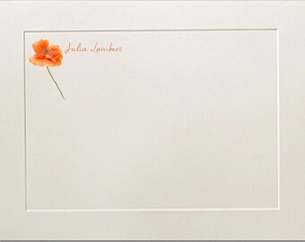 Personalized Flat Note Cards, Poppy Note Cards, Thank You Cards, Poppy Stationery Set, Stationary Set, Flower Notecards, Custom Cards