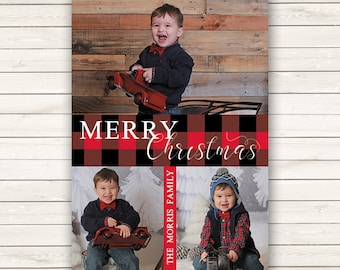 Buffalo Plaid Christmas Cards, Photo Christmas Cards, Printed Christmas Cards, Holiday Photo Cards, Red and Black Christmas Cards