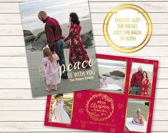Two-Sided Photo Christmas Cards, Peace Be With You, Printed Christmas Cards, Photo Wrapping Paper, Backside Printed Christmas Cards