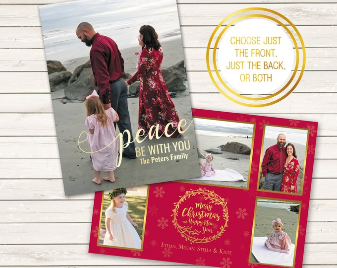 Featured listing image: Two-Sided Photo Christmas Cards, Peace Be With You, Printed Christmas Cards, Photo Wrapping Paper, Backside Printed Christmas Cards