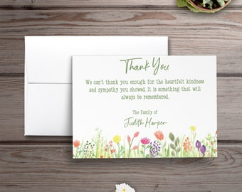 Personalized Sympathy Acknowledgement Cards, Personalized Funeral Thank You Cards, Flat Sympathy Acknowledgement Cards, Floral Funeral Cards