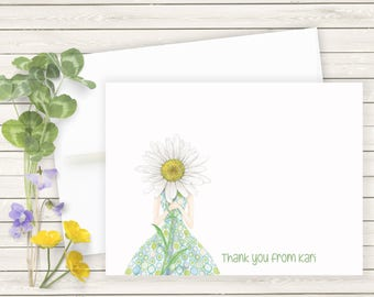 Personalized Note Cards, Daisy Stationery, Daisy Note Cards, Flat Note Cards, Daisy Thank You Cards, Personalized Daisy Stationary Set