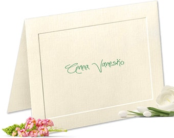 Embossed Panel Linen Finish Personalized Note Cards, Custom Notecards, Personalized Stationery Set, Thank You Cards, Stationary Set