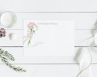 Personalized Floral Flat Note Cards,  Personalized Flower Note Cards, Flower Stationary Set, Personalized Thank You Note, Stationary Set