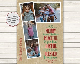 Printed Photo Christmas Cards, Kraft Christmas Cards, Multiple Photo Christmas Cards, Holiday Photo Cards, Blessed Christmas Cards