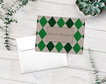 Personalized Men's Note Cards, Stationery Set, Masculine Stationery, Thank You Cards, Green Argyle, Gifts For Him, Custom Notecards