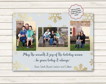 Gold Photo Christmas Cards, Personalized Christmas Cards, Christmas Picture Card, Printed Photo Christmas cards, Custom Printed Photo
