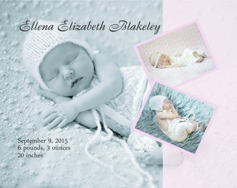 Stretched Personalized Baby Canvas, New Baby Birth Announcement, Baby Photo Gift, Birth Stats, Nursery Artwork, Newborn Gift