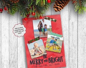 Photo Christmas Cards, Washi Tape Christmas Cards, Printed Christmas Cards, Photo Wrapping Paper, Holiday Photo Cards, Be Merry and Bright