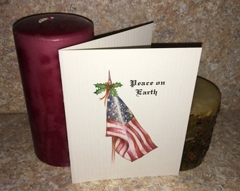 American Flag Personalized Christmas Cards, United States Flag Cards, Vintage Paper, Columned Paper, Military, U.S. Army, Marines, Navy