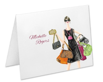 Purse Lover Gift, Purse Note Cards, Handbag Notecards, Personalized Stationery, Personalized Thank You Cards, Custom Stationary Set