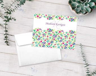 Personalized Flower Note Cards, Flower Stationery, Thank You Cards, Flower Notecards, Stationary Set, Floral Stationary, Custom Note Cards