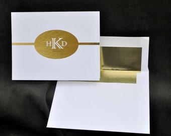 Gold Foil Printed Personalized Note Cards, Stationery, Monogram, Thank You Cards, Monogrammed, Stationary, Foil Notecards, Christmas Gift