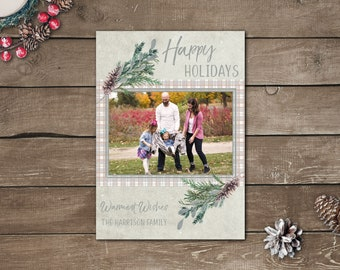 Plaid Photo Holiday Cards, Photo Christmas Cards, Greenery Christmas Cards, Printed Photo Christmas Cards, Happy Holidays Cards