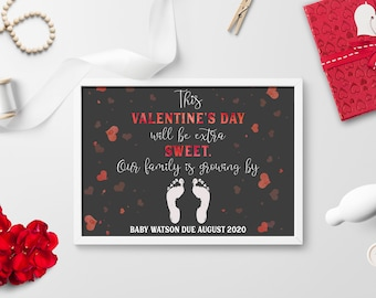 Valentine's Day Pregnancy Announcement Print, Valentine's Pregnancy Reveal, Our Family Is Growing By Two More Feet, Pregnancy Print