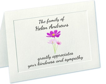 Sympathy Acknowledgement Cards, Funeral Thank You Cards, Custom Funeral Cards, Personalized Funeral Thank You Cards, Embossed Panel Funeral