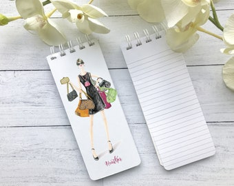 Spiral Notepads, To-Do Lists, Set of 3 Personalized Note Pads, Grocery List, Purse Lover Gift, Personalized Notepads, Purse Notepads