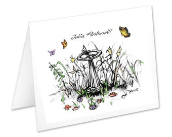 Sun Dial, Bird Bath, Personalized Note Cards, Stationery Set, Butterflies, Notecards, Stationary Set, Thank You Cards, Nature Lover, Custom