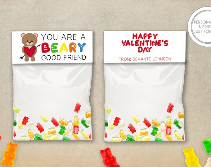 Featured listing image: Kids Valentines Day Bag Toppers, Personalized Valentines Day Cards, Printed Kids Valentines, Gummy Bears Valentines Day Cards