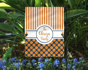 Garden Flag, Striped Garden Flag, Polka Dot Garden Flag, Orange Garden Flag, Navy Blue Flag, Personalized Flag, Personalized Garden Flag