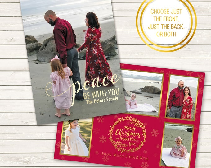 Featured listing image: Two-Sided Photo Christmas Cards, Peace Be With You, Printed Christmas Cards, Multiple Photo Christmas Cards, Wreath Christmas Card