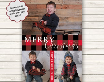 Buffalo Plaid Christmas Cards, Photo Christmas Cards, Printed Christmas Cards, Holiday Photo Cards, Photo Wrapping Paper, Red And Black