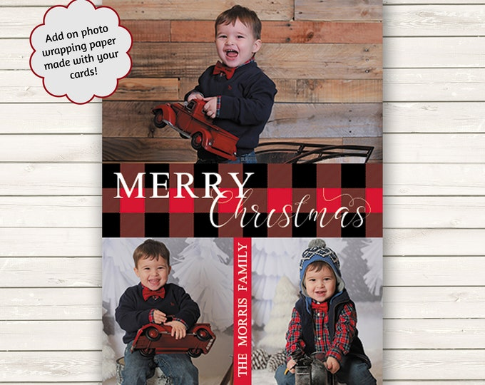 Featured listing image: Buffalo Plaid Christmas Cards, Photo Christmas Cards, Printed Christmas Cards, Holiday Photo Cards, Photo Wrapping Paper, Red And Black