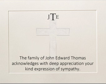 Sympathy Acknowledgement Cards, Funeral Thank You Cards, Cross Funeral Cards, Christian Bereavement Cards, Flat Funeral Cards