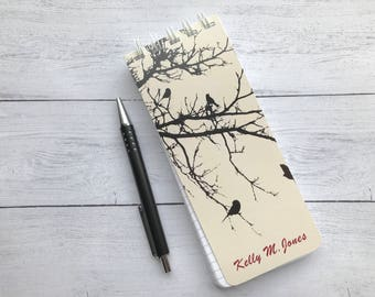Set of 3 To-Do List, Note Pad, Spiral Bound Notepad, Personalized Notepad, Monogrammed Note Pad, Black Birds Pad of Paper, Nature Lover Gift
