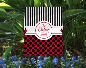 Garden Flag, Striped Garden Flag, Polka Dot Garden Flag, Red Garden Flag, Black Blue Flag, Personalized Flag, Personalized Garden Flag