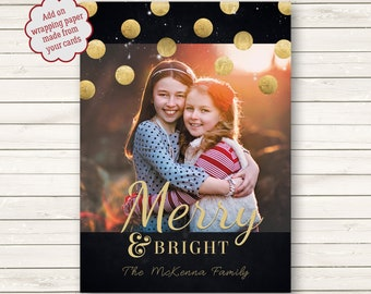 Merry and Bright Christmas Cards, Metallic Gold Photo Christmas Cards, Printed Christmas Cards, Holiday Photo Cards,  Photo Wrapping Paper