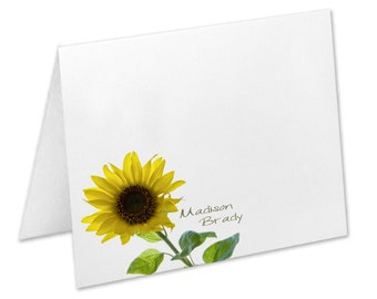 Sunflower Note Cards, Sunflower Personalized Stationery, Stationery Set, Sunflower Notecards, Stationary Set, Custom Notecards