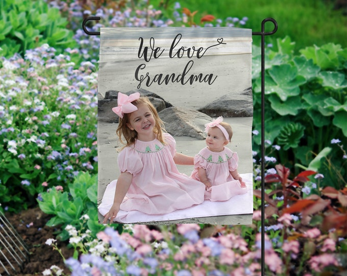Featured listing image: Photo Gift for Grandma, Photo Garden Flag, Nana Photo Gift, Personalized Flag, Grandmother Photo Gift, Mother's Day Photo Gift,