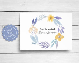 Sympathy Acknowledgement Cards, Funeral Thank You Cards, Bereavement Cards, Floral Funeral Cards, Personalized Funeral Note Cards